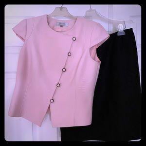 Tahari Sleeveless Pink Hook&Eye, Blk Skirt set 10